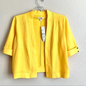 Isela Open Front Yellow Cropped Cardigan Size M